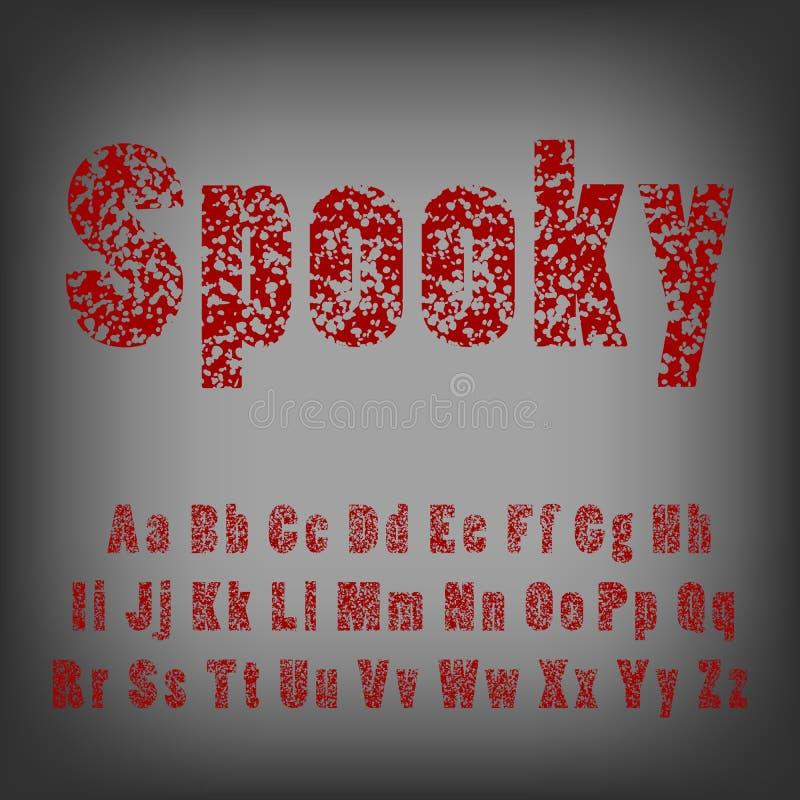 Kulhål i bokstäver Spöklik fasastilsortsstilsort vektor illustrationer