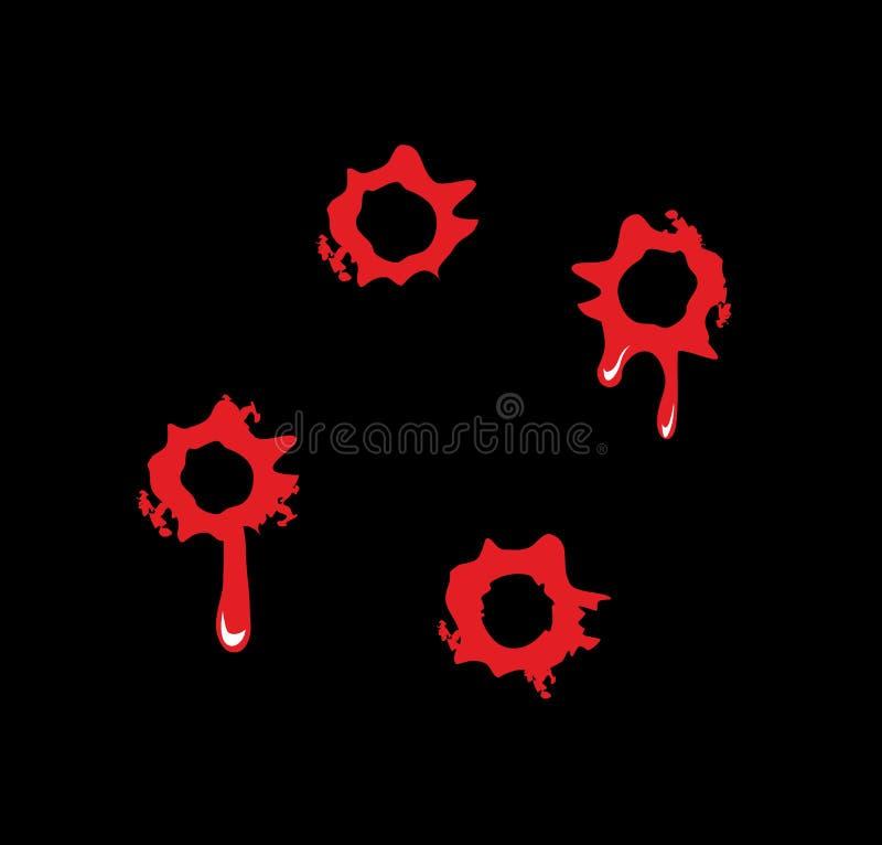 Kulhål med blod plaskar Plan illustration på svart bakgrund vektor illustrationer