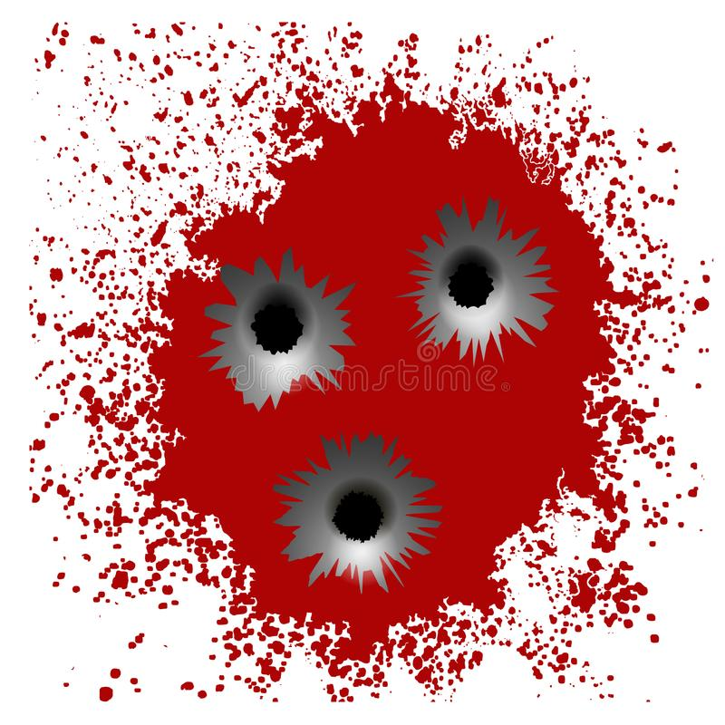Kulhål på rött blod plaskar bakgrund royaltyfri illustrationer