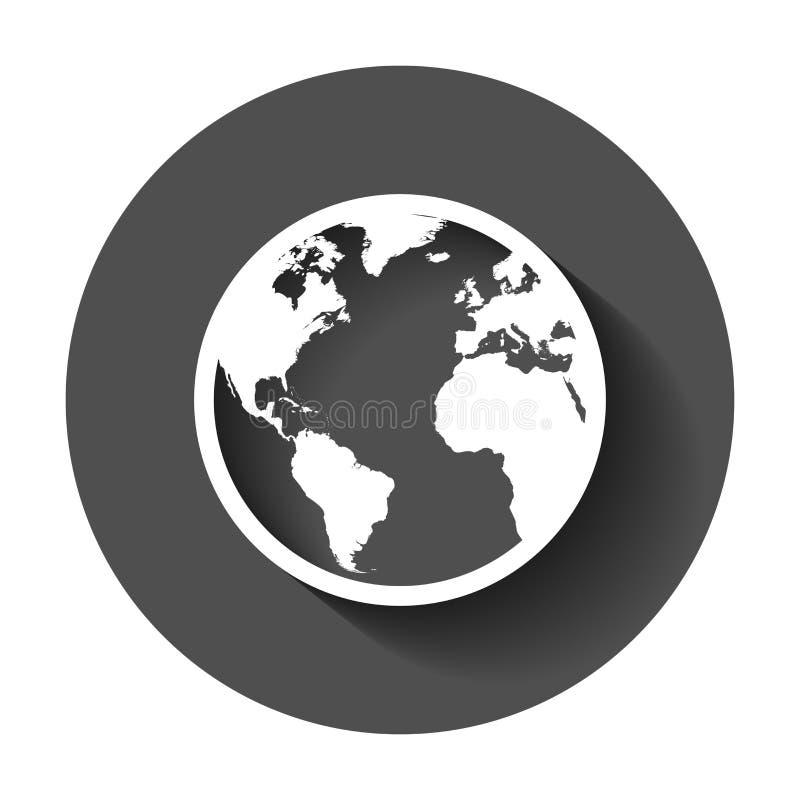 Kuli ziemskiej światowej mapy wektoru ikona Round ziemski płaski wektorowy illustratio ilustracja wektor