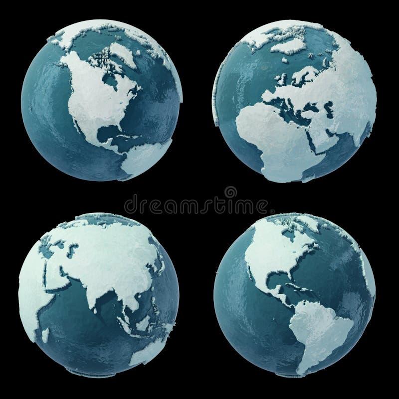 kuli ziemskiej czarny zima ilustracji