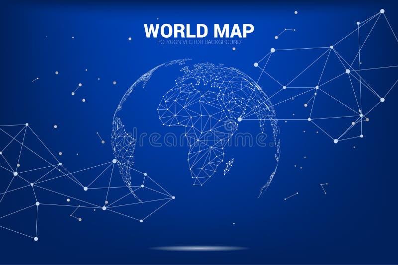 Kuli ziemskiej 3D Światowej mapy wireframe kropka łączy kreskowego wieloboka: pojęcie Cyfrowa sieć ilustracji