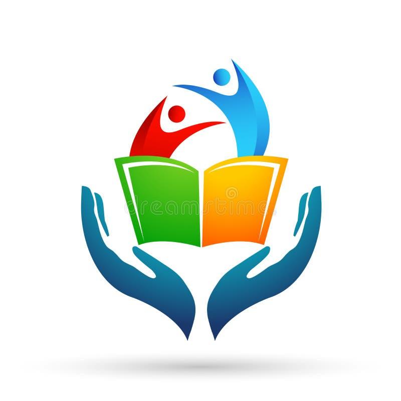 Kuli ziemskiej edukacji opieki ręk logo światowych dzieci szkolne książki żartują ikonę ilustracji