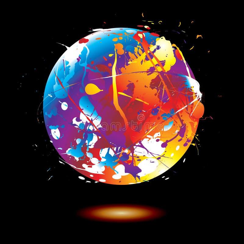 kuli ziemskiej farby splat ilustracja wektor