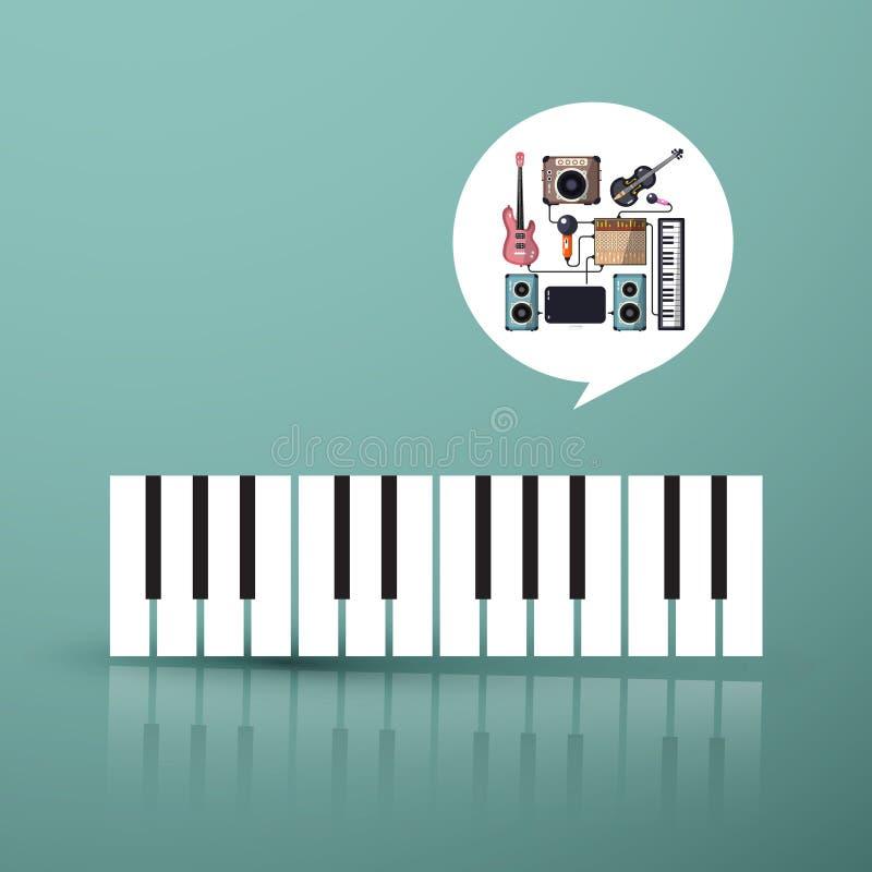 kuli ziemskiej hełmofonów muzyczny symbol Fortepianowa klawiatura z instrumentami ilustracja wektor