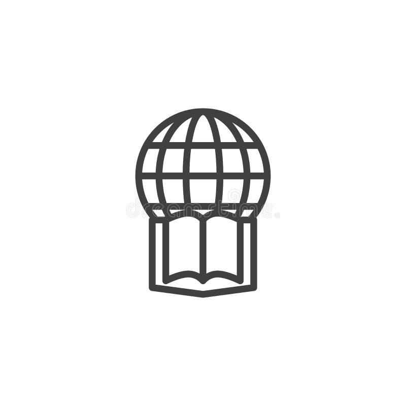 Kuli ziemskiej i książki kreskowa ikona royalty ilustracja