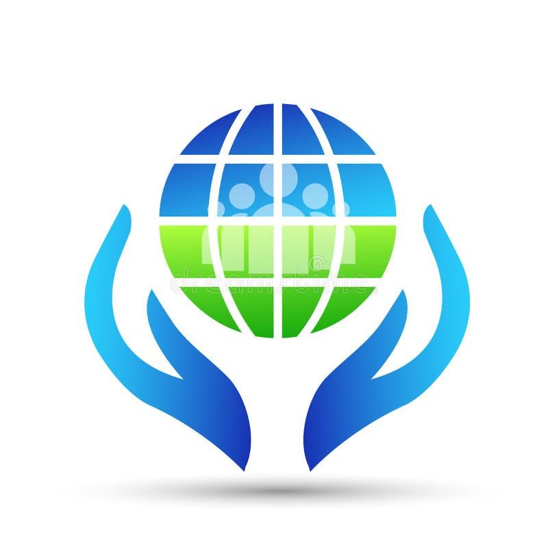 Kuli ziemskiej i ręka loga ikony pojęcia ludzie save ludzi na białym tle i dbają ziemię i royalty ilustracja