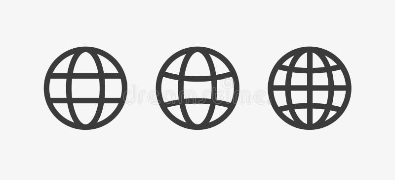 Kuli ziemskiej ikona, światowy wektoru znak, uziemia set, kolekcja Internetowy pojęcie, geografii mapy znak odizolowywający na bi ilustracja wektor