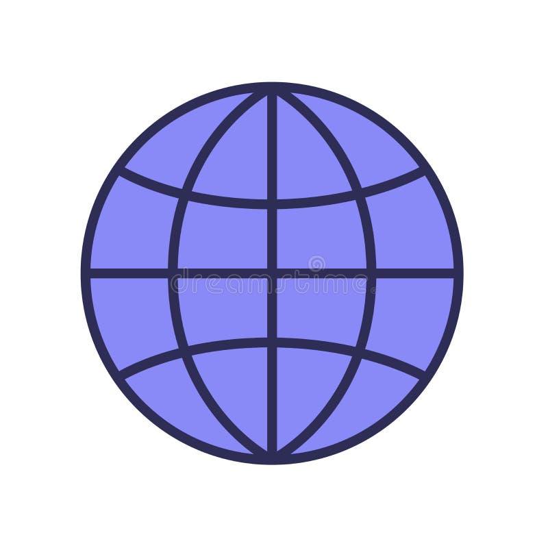 Kuli ziemskiej ikona, świat, planeta Linii barwiona wektorowa ilustracja pojedynczy białe tło ilustracji