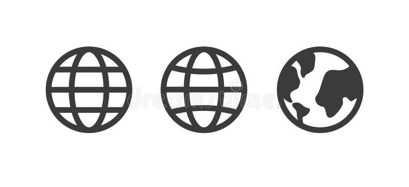 Kuli ziemskiej ikona, światowy wektoru znak, uziemia set, kolekcja Internetowy pojęcie, geografii mapy znak odizolowywający na bi royalty ilustracja