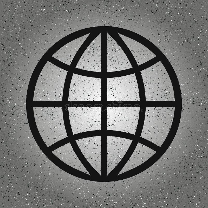 Kuli ziemskiej ikona w modny odosobnionym na popielatym tle ?wiatowy kula ziemska symbol dla tw?j strona internetowa projekta, lo ilustracja wektor