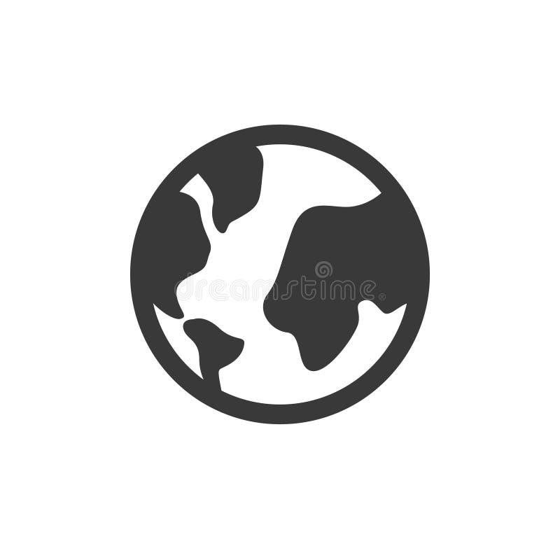 Kuli ziemskiej ikona, wektorowy świat ziemi znak, Globalny Internetowy pojęcie geografii mapy znak odizolowywający na białym, pła royalty ilustracja