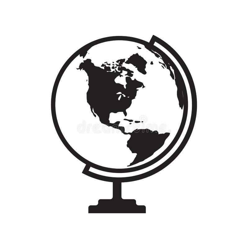 Kuli ziemskiej ikona z Ameryka mapą - wektorowa ilustracja royalty ilustracja