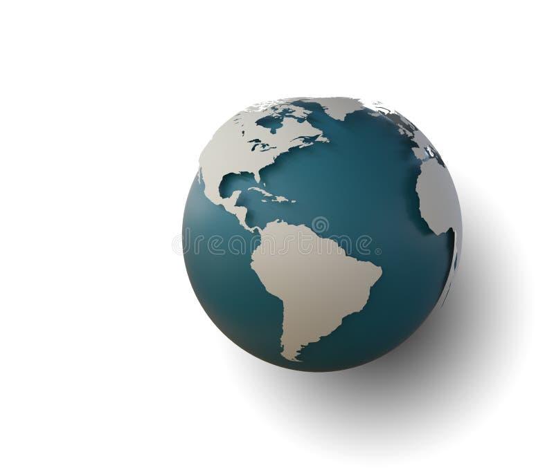 Kuli ziemskiej ikona z gładkimi cieniami i białą mapą kontynenty o obrazy stock
