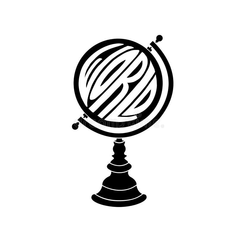 Kuli ziemskiej ikona z ręka rysującym słowo światem ilustracja wektor