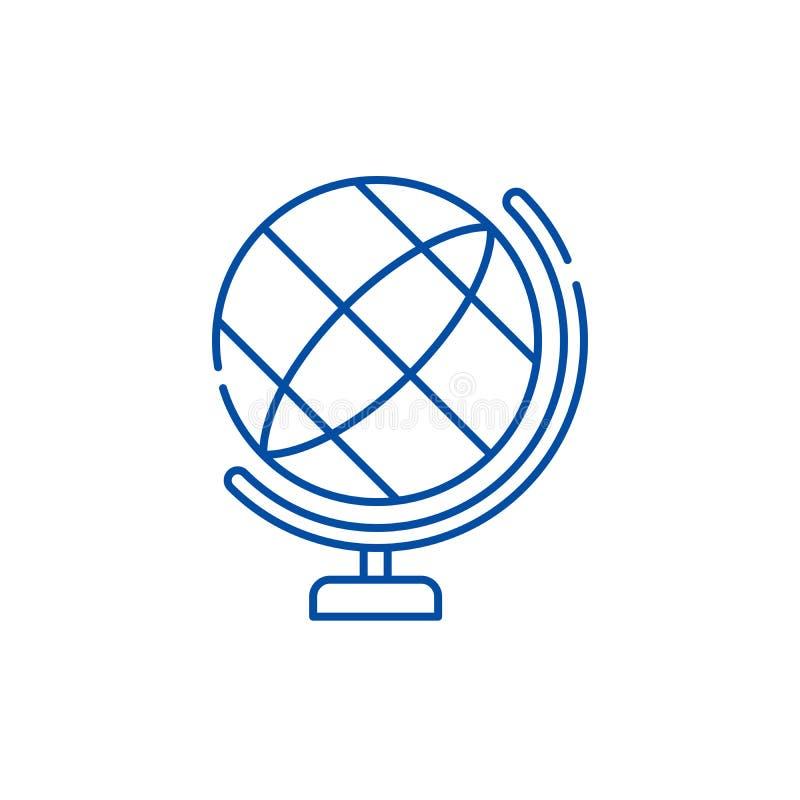 Kuli ziemskiej ikony kreskowy pojęcie Kula ziemska płaski wektorowy symbol, znak, kontur ilustracja royalty ilustracja