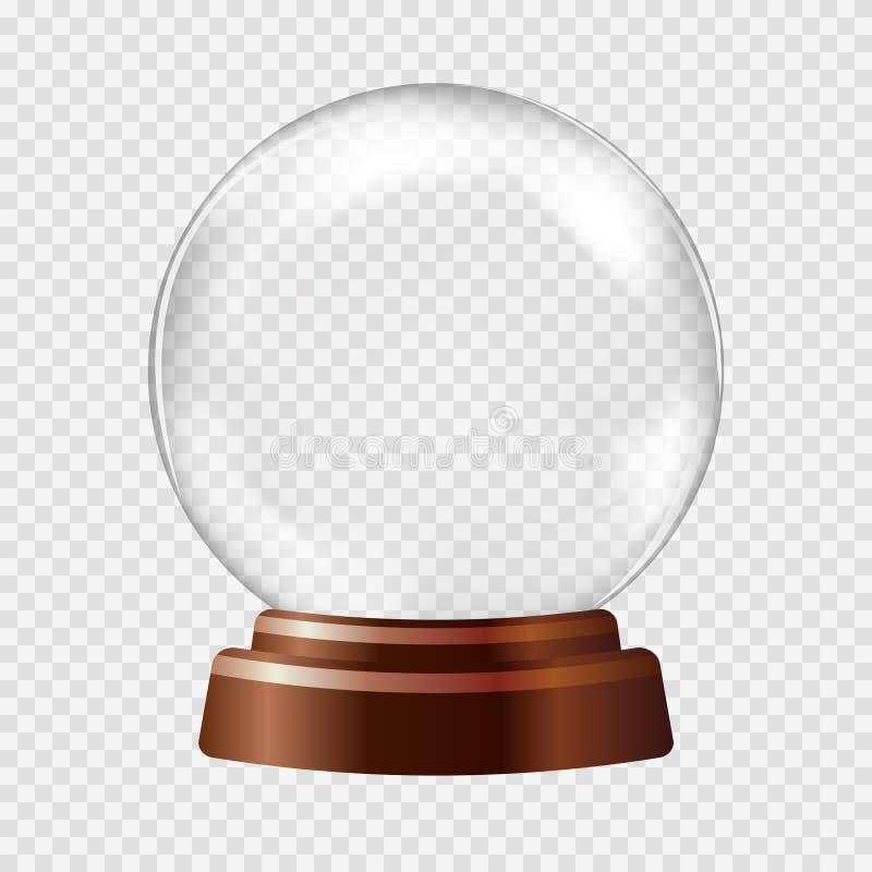 kuli ziemskiej ilustracja odizolowywał wektorowego śniegu biel Duża biała przejrzysta szklana sfera ilustracja wektor