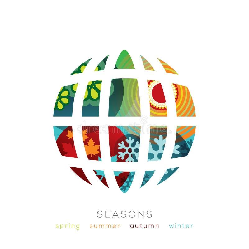 Kuli ziemskiej ilustracja z cztery sezonów pojęciem royalty ilustracja