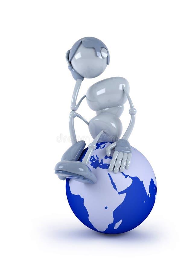kuli ziemskiej istota ludzka siedzi myśl ilustracji