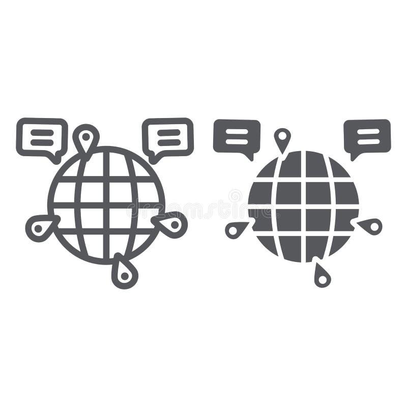 Kuli ziemskiej komunikacyjna linia, glif ikona, internet i związek, globalny gadka znak, wektorowe grafika, liniowy wzór dalej royalty ilustracja