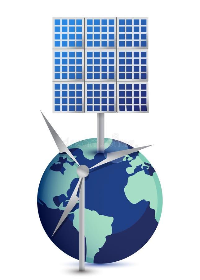 kuli ziemskiej miniaturowych panel słoneczny wiatraczek ilustracji