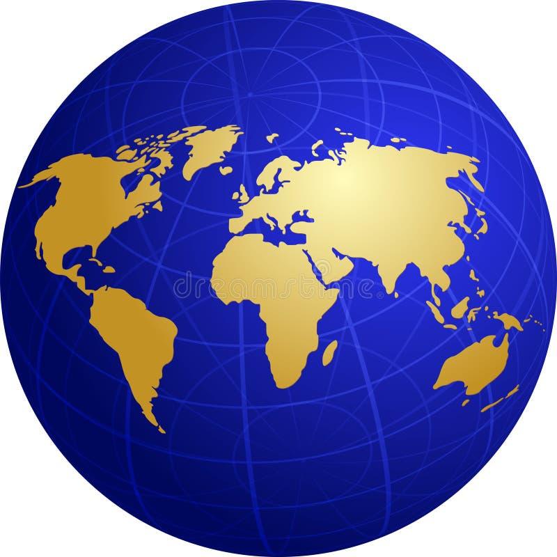 kuli ziemskiej siatki ilustracyjny mapy świat ilustracja wektor