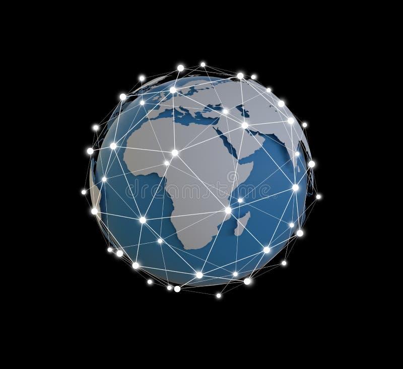 Kuli ziemskiej sieci hologram z Ameryka Usa kartografuje 3D rendering fotografia stock