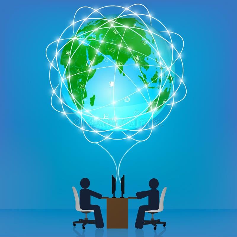 Kuli ziemskiej sieci związek. Szablon, infographics,  royalty ilustracja