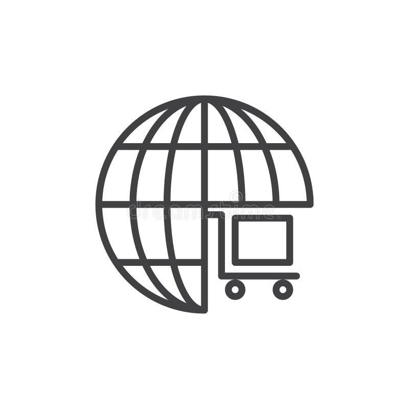 Kuli ziemskiej wózek na zakupy konturu ikona royalty ilustracja