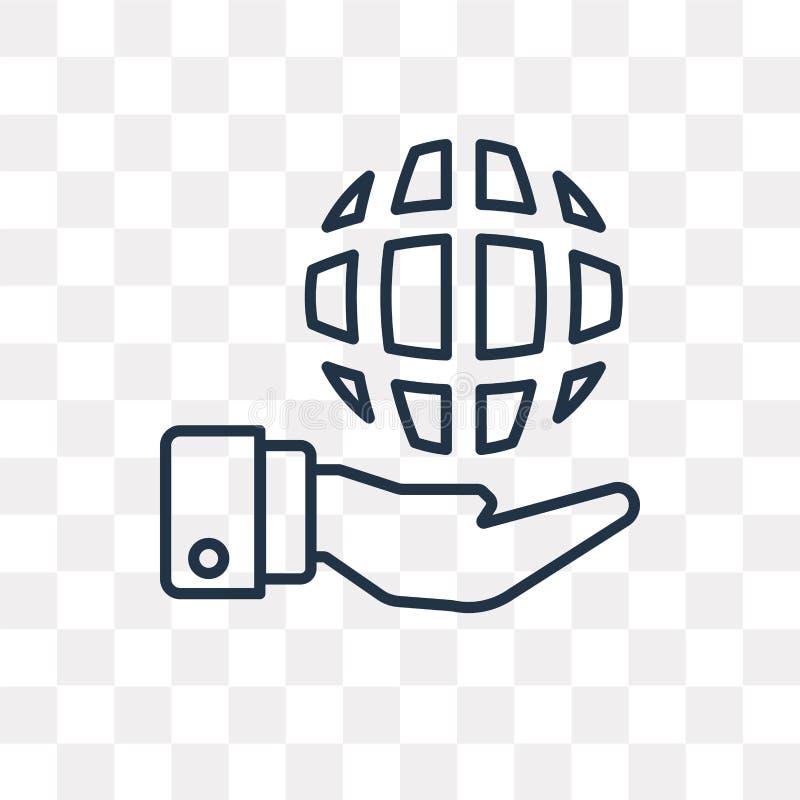 Kuli ziemskiej wektorowa ikona odizolowywająca na przejrzystym tle, liniowy Glo ilustracja wektor
