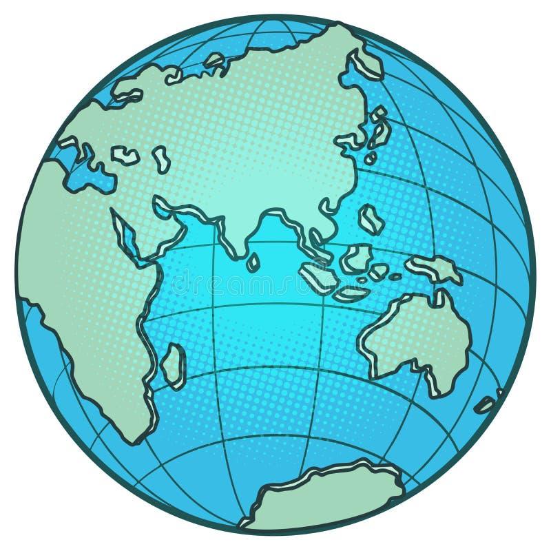 Kuli ziemskiej Wschodnia hemisfera Afryka Europa Azja Australia ilustracja wektor