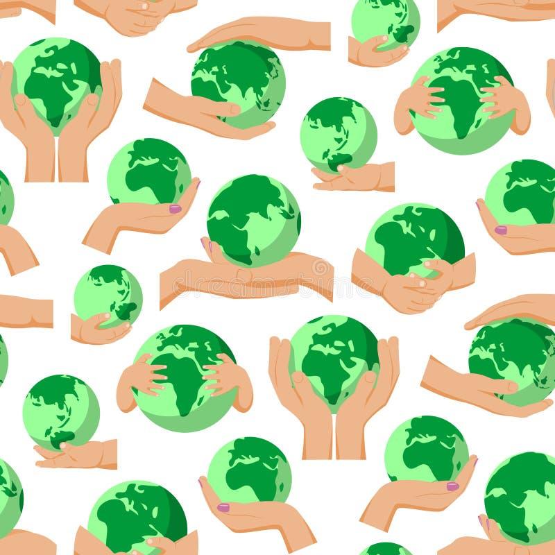 Kuli ziemskiej ziemi planeta w istot ludzkich rękach dotyka mienia światowego zbawczego globalnego pojęcia wektorowego bezszwoweg royalty ilustracja