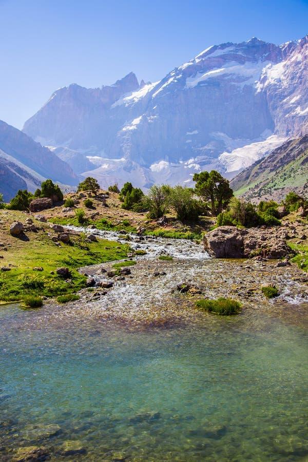 Kulikalon sjöar, Fann berg, turism, Tadzjikistan royaltyfria foton