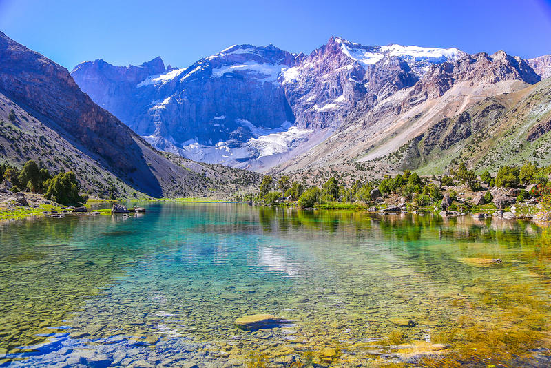 Kulikalonmeren, Fann-bergen, toerisme, Tadzjikistan royalty-vrije stock afbeelding
