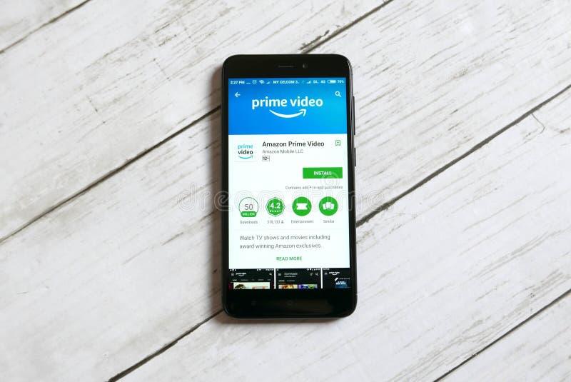 KULIM, MALAISIE - 11 AVRIL 2018 : Amazone amorcent l'application visuelle sur un magasin de jeu de Google d'androïde images stock
