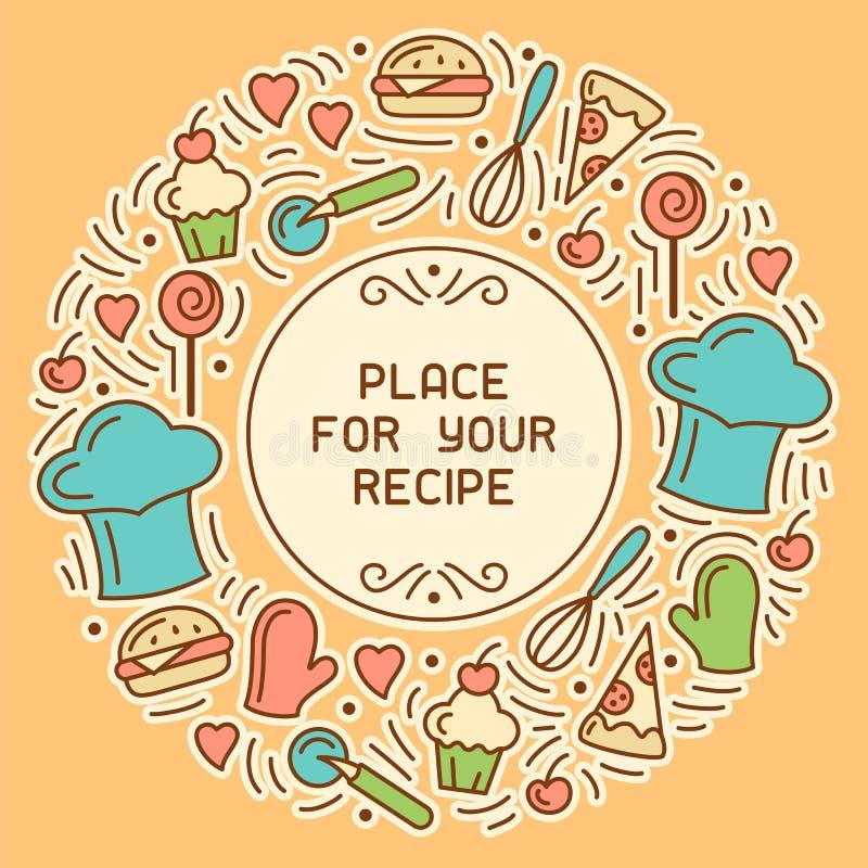Kulinarische Rezeptkarte mit Mahlzeitelementen und -küchengeschirr stock abbildung
