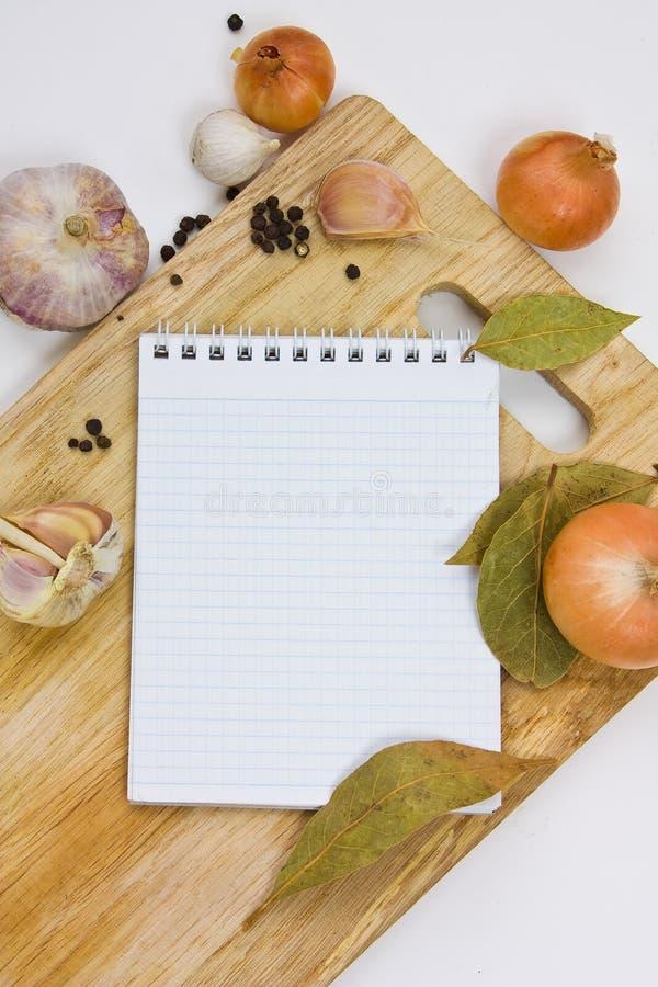 kulinarisk anmärkningsanteckningsbok fotografering för bildbyråer