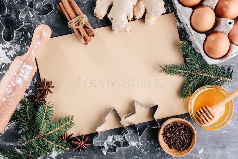 Kulinarisk bakgrund för recept av att baka för jul royaltyfri fotografi