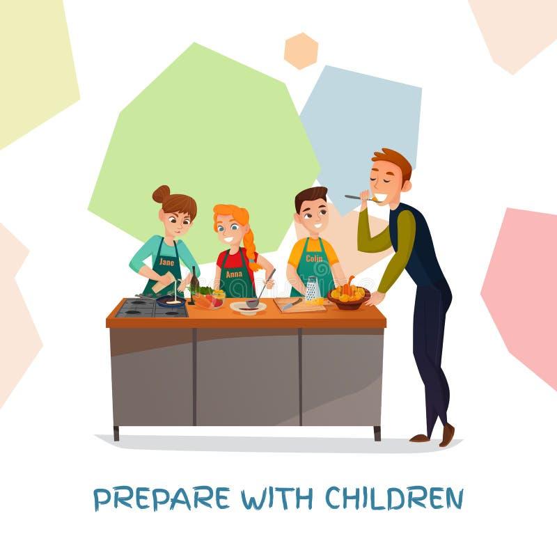 Kulinarisk show för ungar stock illustrationer