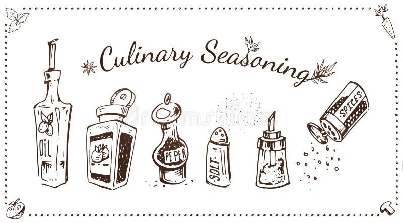 Kulinariska smaktillsatser räcker den utdragna vektoruppsättningen stock illustrationer