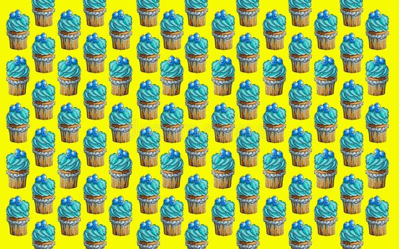 Kulinariskt arbete Muffin läcker kaka Bl?b?ranstrykning royaltyfri illustrationer
