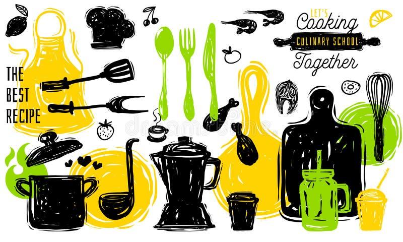 Kulinariskt baner för affisch för klistermärke för etikett för skolalogodesign Köksgerådmatbeståndsdelar Panna för platta för ske royaltyfri illustrationer
