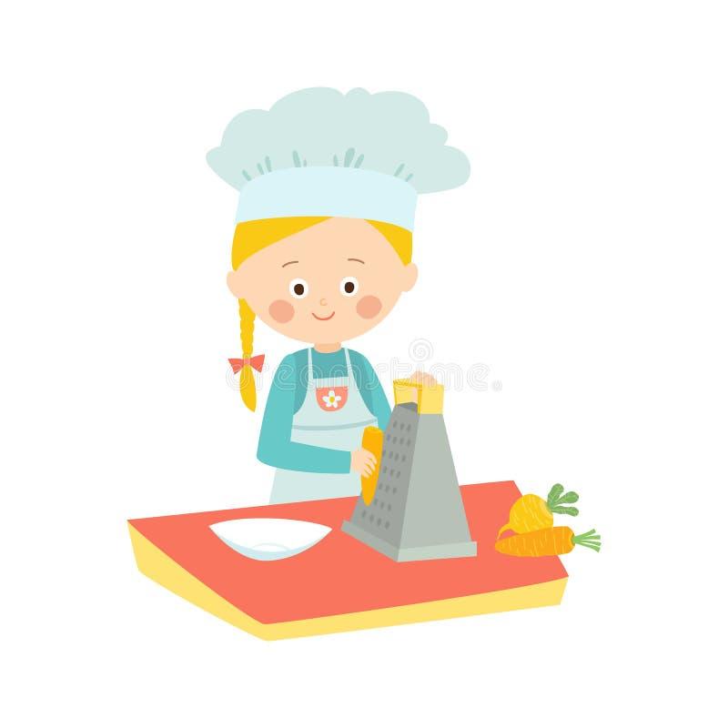 kulinarna dziewczyna trochę Ślicznego dziecka drażniące marchewki szef kuchni trochę Wektorowa ręka rysująca eps 10 klamerki sztu ilustracja wektor