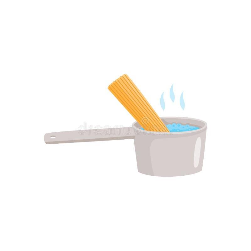 Kulinarna instrukcja dlaczego przygotowywać kluski z wrzącą wodą w pucharze i spaghetti ilustracja wektor