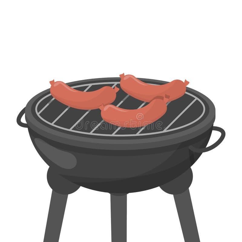 Kulinarna kiełbasa na bbq lub grillu kurczak smażąca dłoniaków nogi sałatka ilustracji