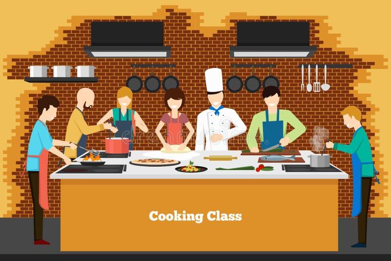 Kulinarna klasa w kuchni ilustracja wektor