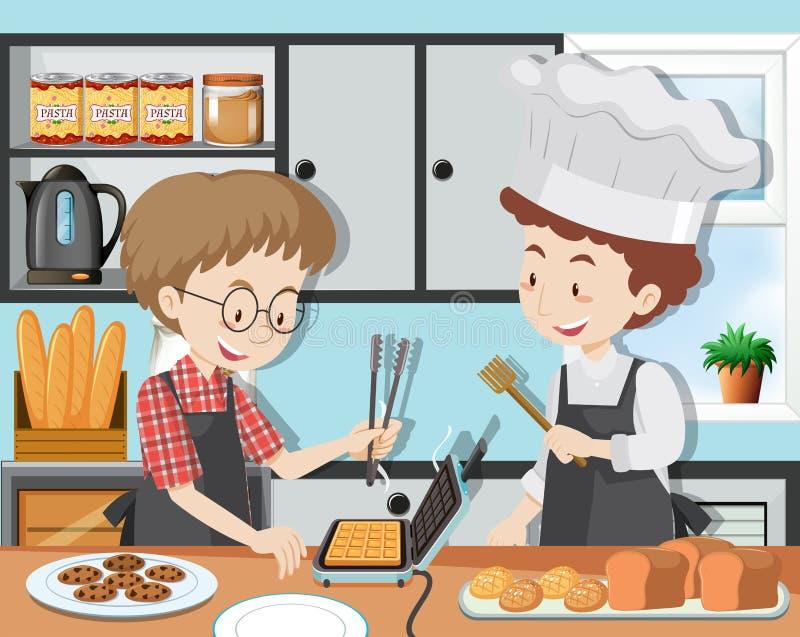 Kulinarna klasa z Professinal szefem kuchni royalty ilustracja