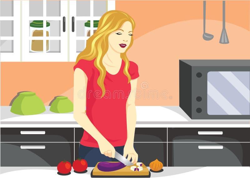 Kulinarna kobieta w Kuchennej Wektorowej ilustraci royalty ilustracja
