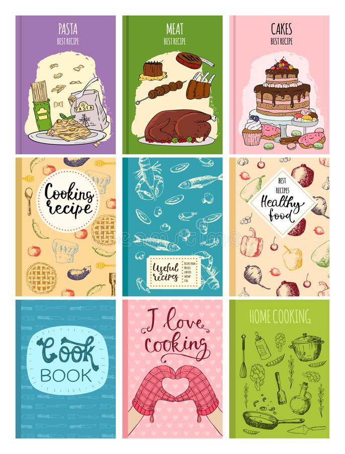 Kulinarna kuchenna ręka rysować przepis książek pokrywy projekta kart szablonu ciastka kulinarne notatki z doodle kuchni naczynia ilustracja wektor