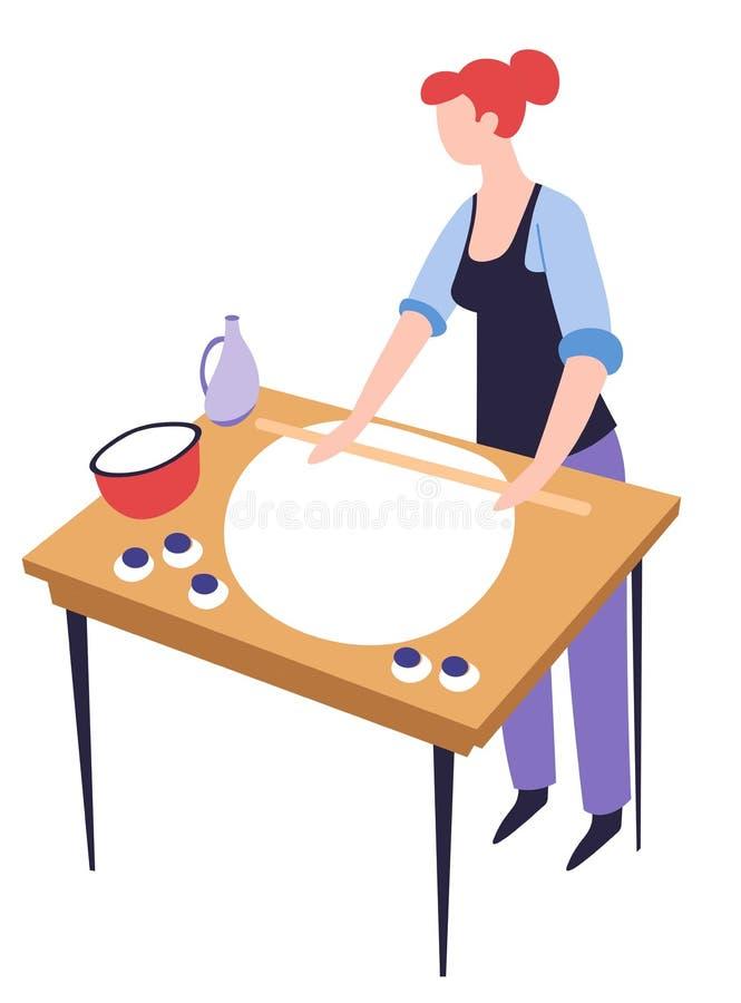 Kulinarna lub wypiekowa hobby kobieta z ilustracja wektor